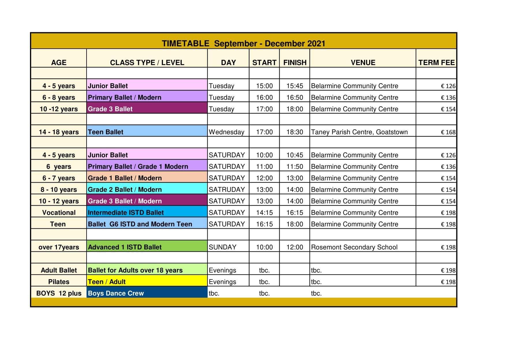 Ballet Classes Timetable